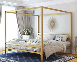 King Size Gold Metal Canopy Bed Frame