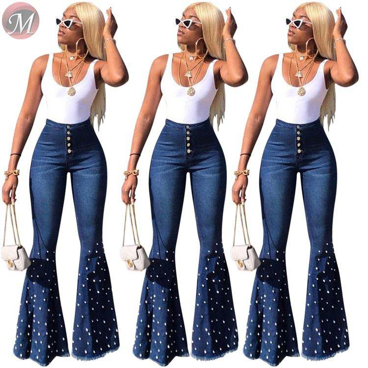 9071813 latest design 2019 wholesale women clothing casual blue button flared women beaded denim pants jeans