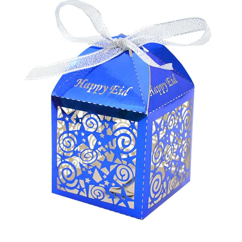 favor box royal blue blue laser cut happy eid customize personalize wedding favor gift boxes