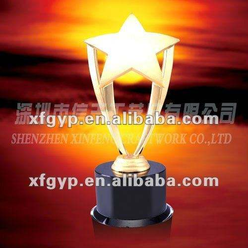 metal top and resin base casting Metal Trophy cup, STAR