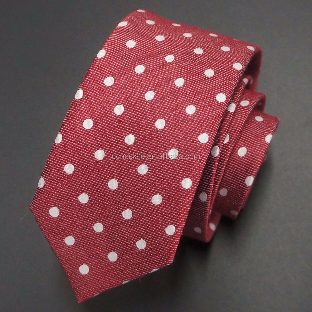 red with white polka dots linen tie