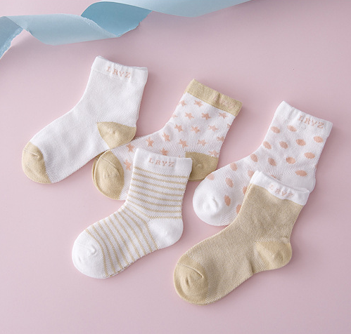 Hot selling new polka dot brand kids socks thin comfortable breathable white baby socks five pairs per pack knit baby socks