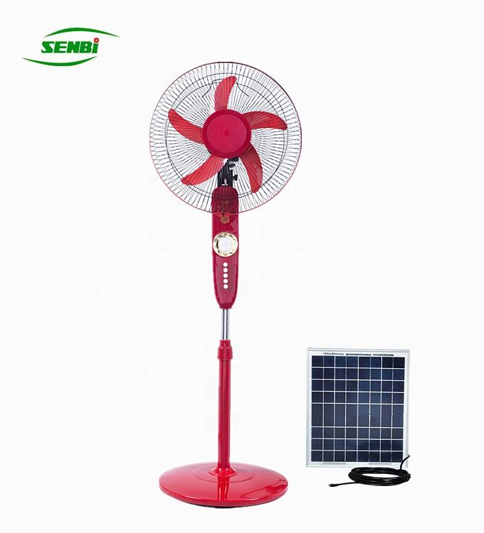 3 speeds 18inch 5 blades solar pedestal fan with led light