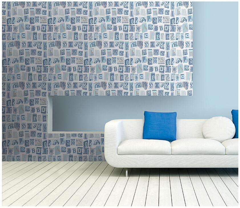 English Writing Design Non-woven Decorative Wallpaper for Teenage Adult