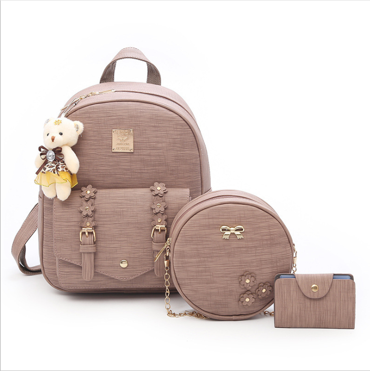Wholesale Fashion Women bag 2019 Korean Large Capacity Backpack 3 Piece Set Schoolbag with bear pendant Girls Handbag