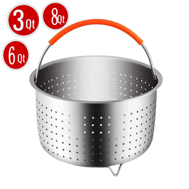 Silicone Stainless Steel Steamer Basket for Fits InstaPot Pressure Cooker with Handle
