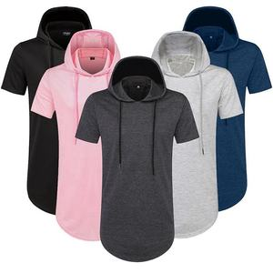 Wholesale men fashion plain pullover hoodies custom men short sleeve hoodies