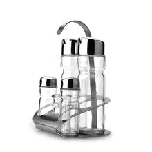 Stainless Steel Condiment Holder Glass Cruet Bottle Vinegar Oil Glass Condiment Set
