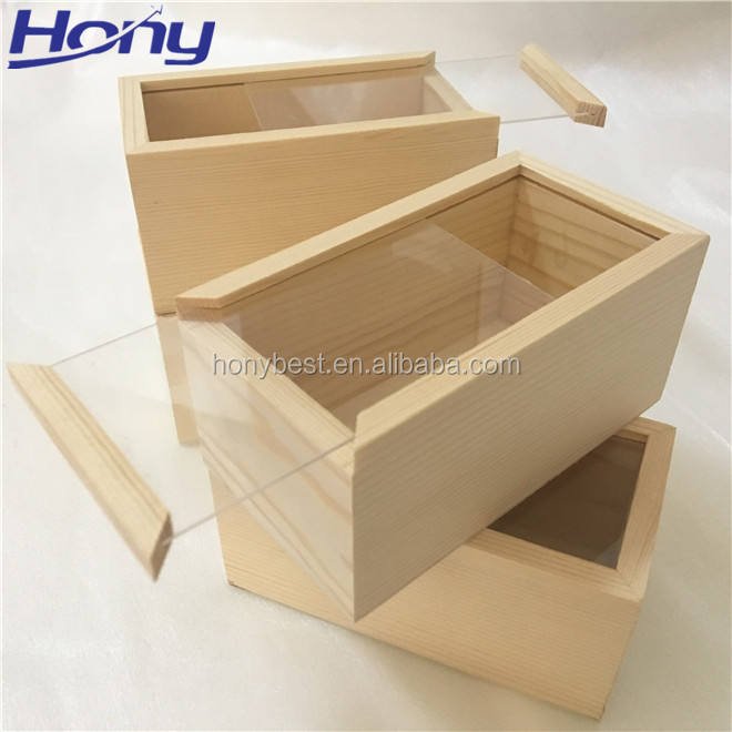Free Sample Pine Wood Sliding Package Gift Box with Clear Lid for Displaying