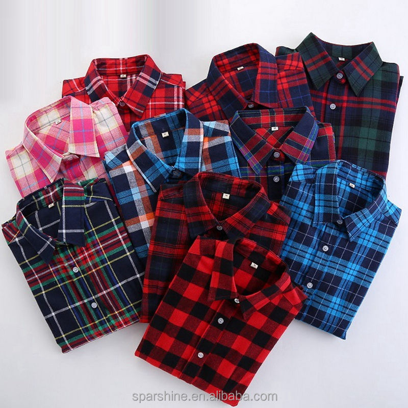 2016 Wholesale Autumn Casual Long Sleeve Shirt Plaid 100% Cotton Fashionable Ladies Blouse