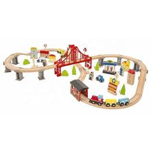 Wholesale cheap educational 70 pcs railway wooden toy train sets for kids W04C073