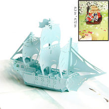Top Grade Custom Made Handmade Hot 3D Popup Greeting Cards with Colourful Boat