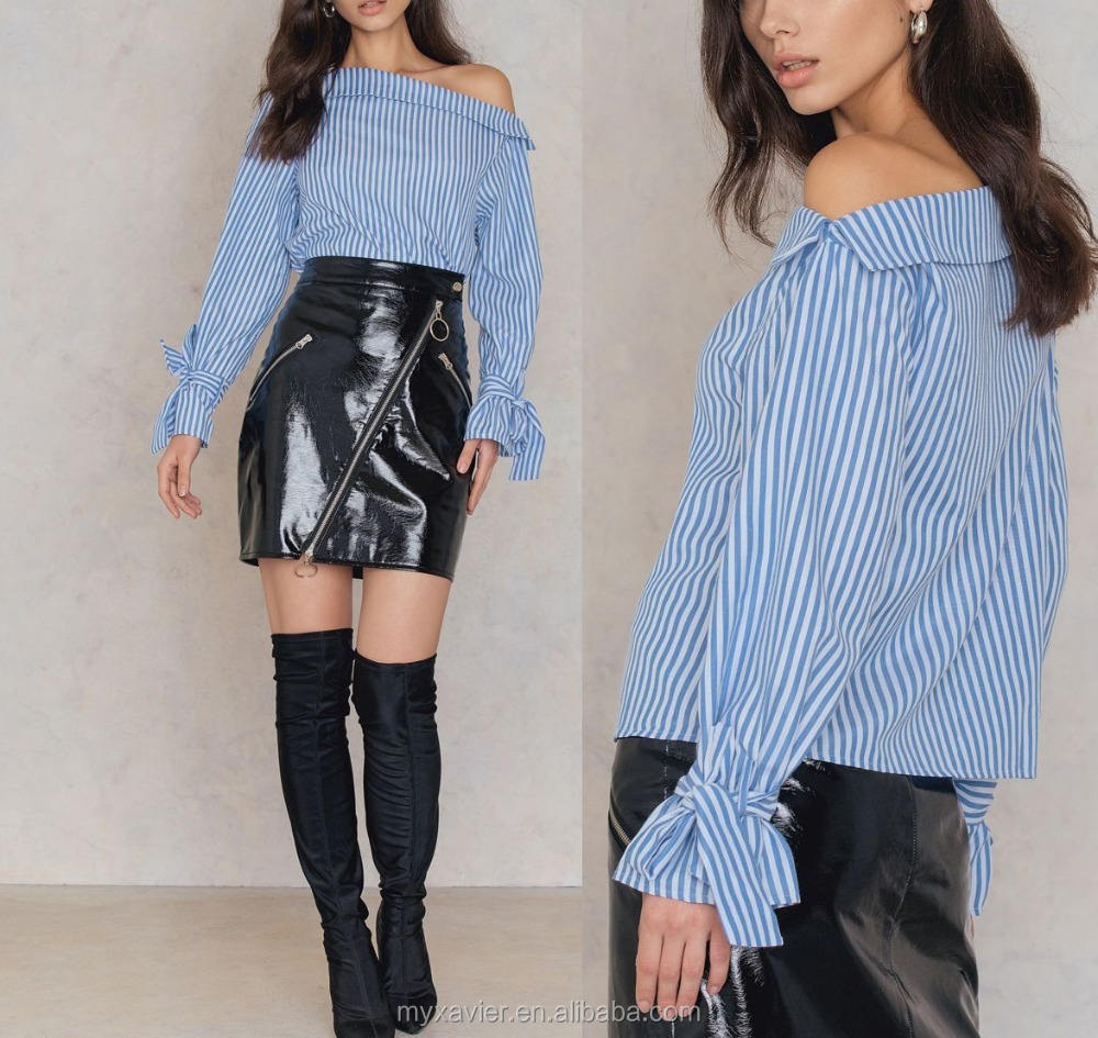 Striped off the shoulder blue long sleeves woman blouses with belt details at sleeves 2017 new design