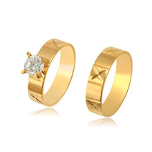 R-155 Xuping Stainless Steel Jewelry Trendy design 24k golden plated unique Fashion synthetic cz stone ring set