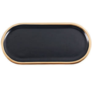 Nordic creative black gold porcelain oval flat jewelry plate ceramic dessert tray