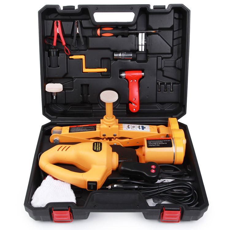 High Quality CE ISO Professional Portable 2T 12V Durable Electric Scissor Car Jack and Impact Wrench for Quick Repair