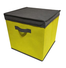 Collapsible foldable fabric storage bin box, cloth storage cube basket bin organizer with lid