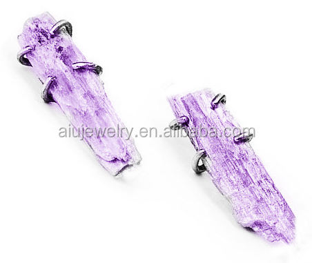 Customized Antique silver amethyst raw gemstone jewellery earring
