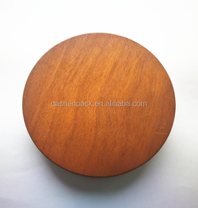 Promotional painted wooden lid for candle jars canister wood lid