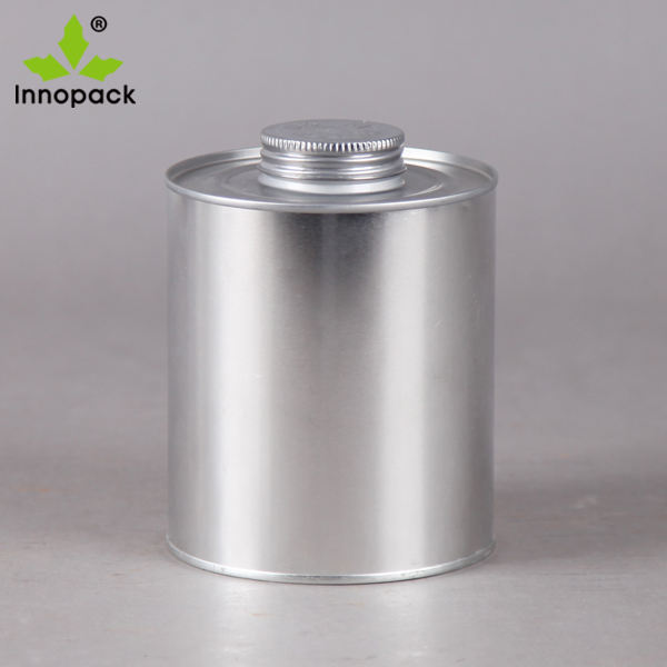 Empty metal tin cans container Screw top with dauber/mane brush for PVC /adhesive solvent