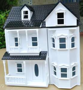 New fashion educational children wooden toy house play colours doll house 1:12 dollhouse