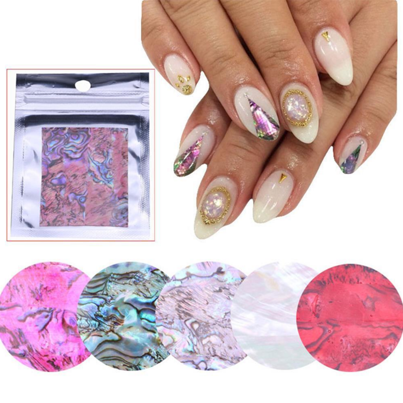12 Colori Soft 3D FAI DA TE Vera Shell Nail Sticker