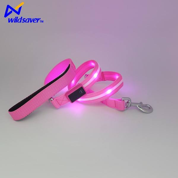 usb rechargeable eco-friendly custom print logo pet accessories supplier nylon led flashing safety dog leash light for sale