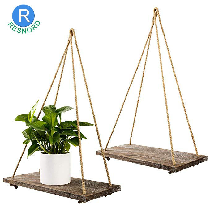 Hanging Swing with Jute Rope Rustic Home Decor Wall Shelves Wooden Wall Shelf Design