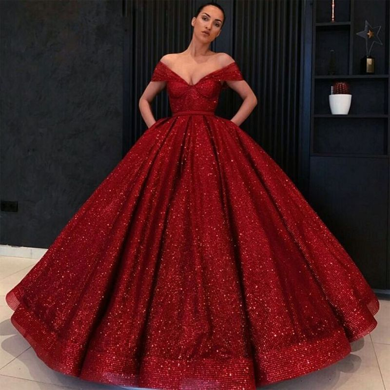 Burgundy Prom Dresses Ball Gown Glitter Sequin V Neck Open Back Girls Sweet 16 Dresses Long Evening Party Wear