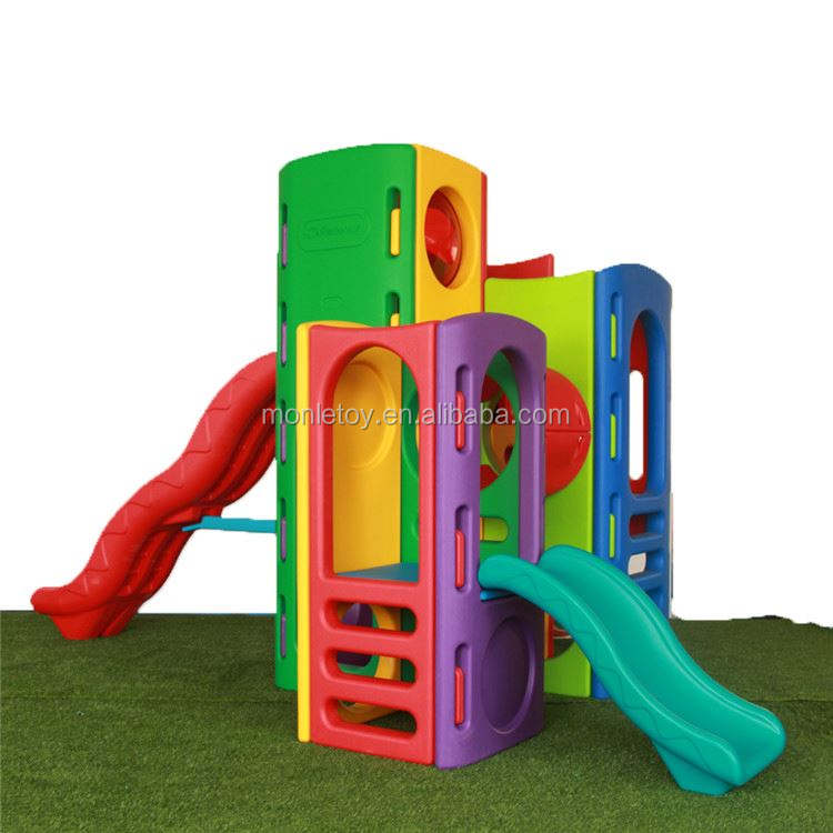 Daycare center simple design kids plastic combination slide indoor playground equipment
