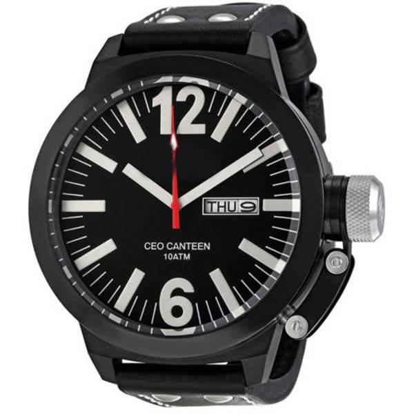 Crea Tu propia Marca Rey Maestro <span class=keywords><strong>TW</strong></span> Acero Dial Negro Correa de Cuero de Los Hombres Reloj de Pulsera