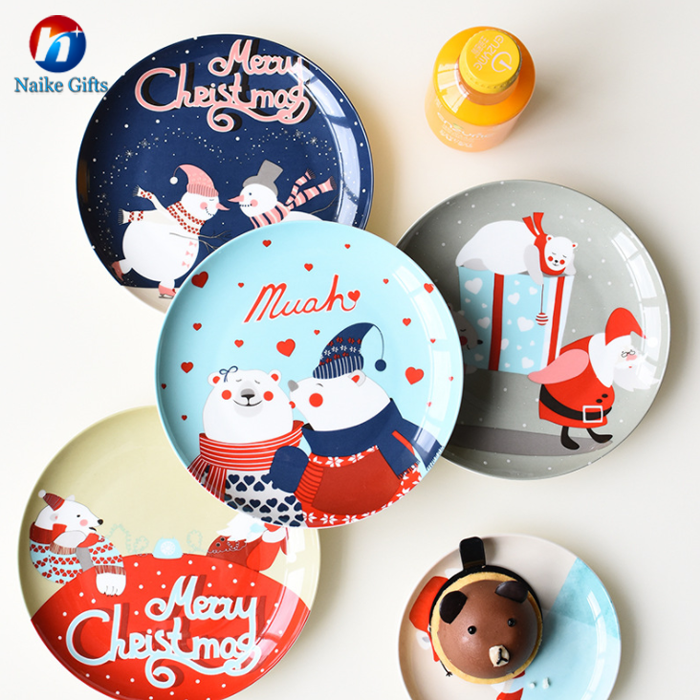 Christmas high quality ceramic plate for fruit or steak