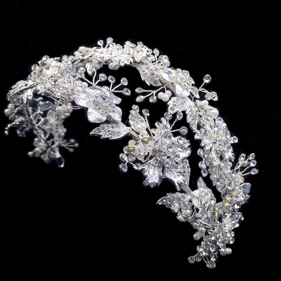 RE3266 Silver Flower Bridal Headband Rhinestone Wedding Tiara Bridal Hair accessories