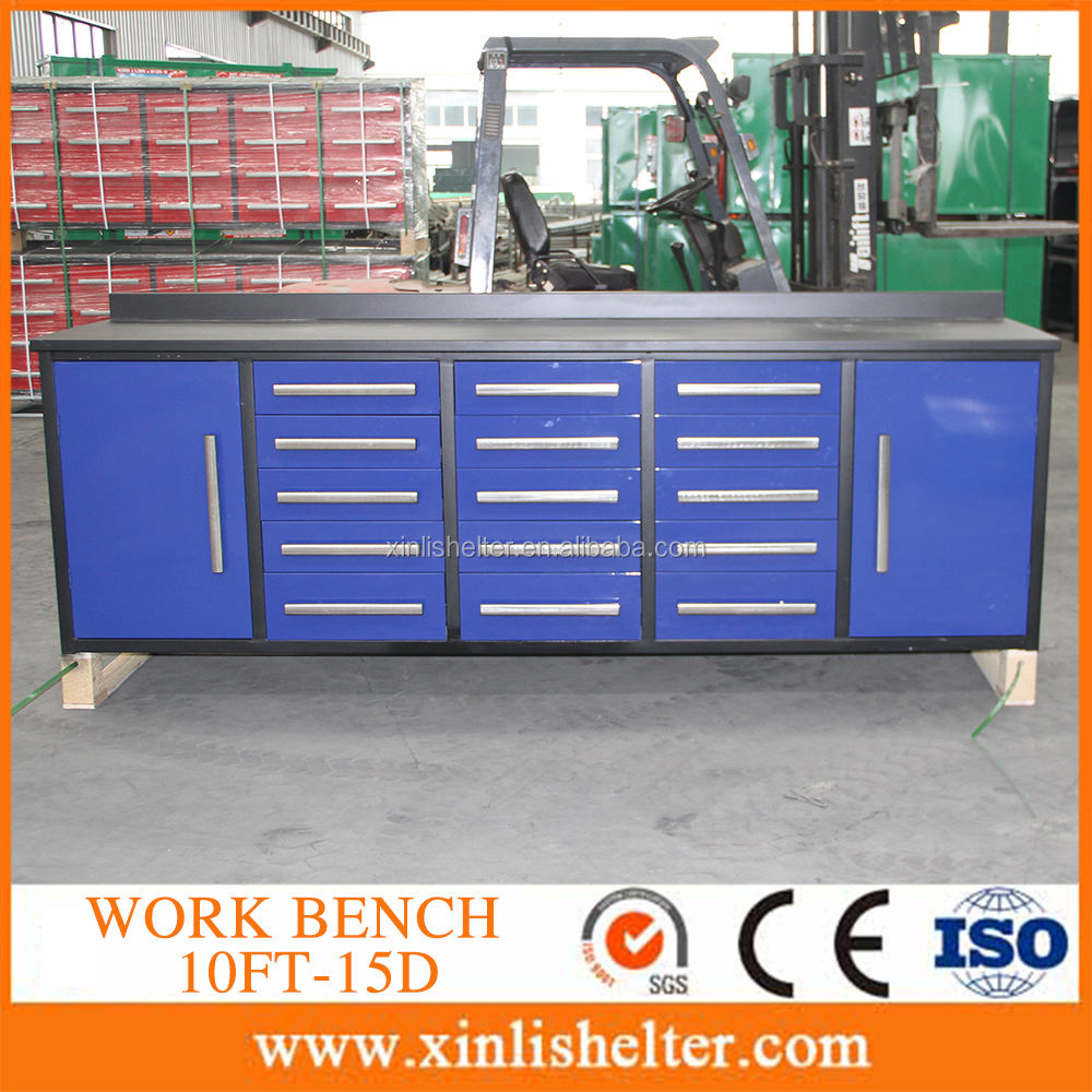 heavy duty 15 drawers steel working bench/ tool cabinet