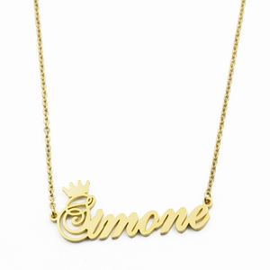 Inspire jewelry Gold Personalized Name Crown Necklace Handmade Customized Nameplate Pendant Stainless Steel Chain Jewelry