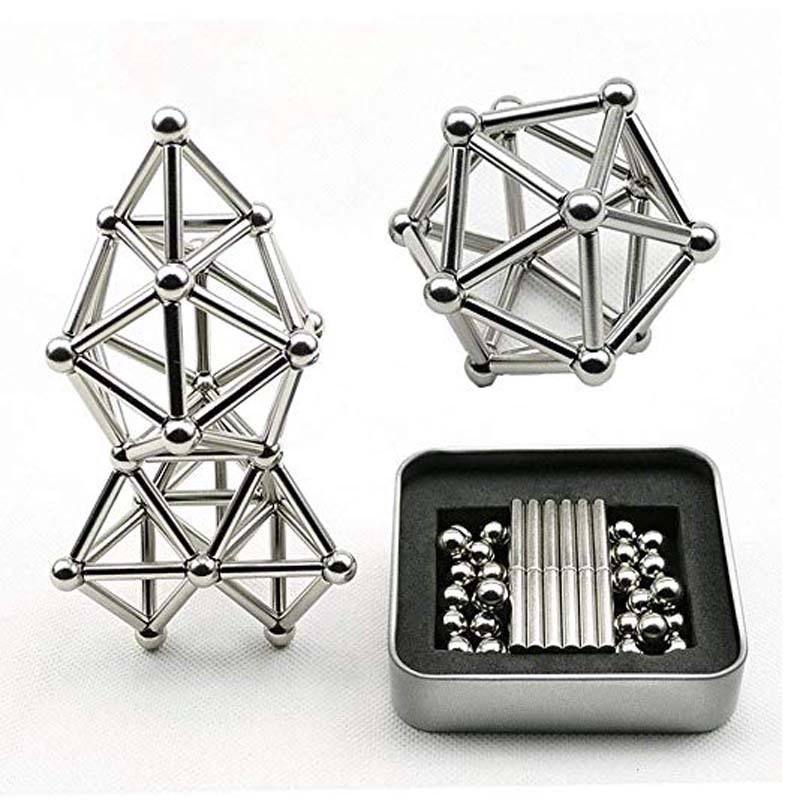 Puzzle toys Rare earth Magnetic bars and stainless balls