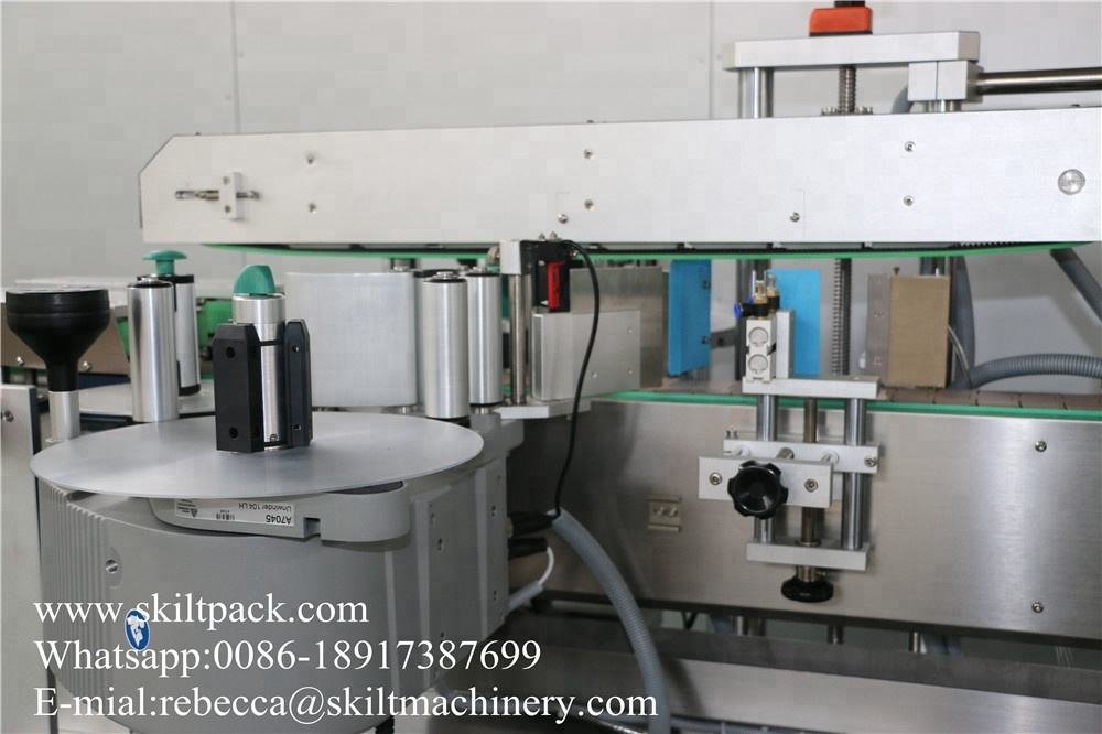 SKILT Automatic double sides pet plastic glass bottle labeling machine