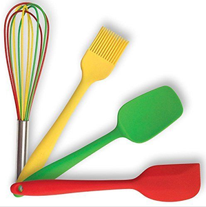 Cooking Utensils Gift Set 4 Silicone Kitchen Tools Spatula Spoon Brush and Whisk