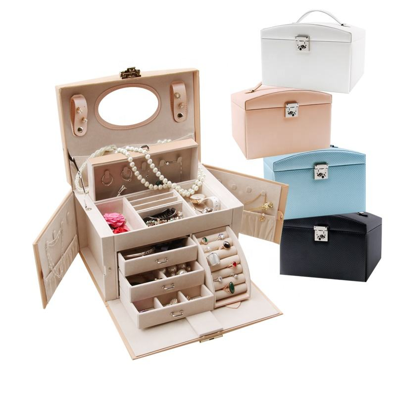 BMD PU17006 New Design Custom Jewelry Box Case Wooden Jewellery Box Wholesale with Big Size Suitable for Travel