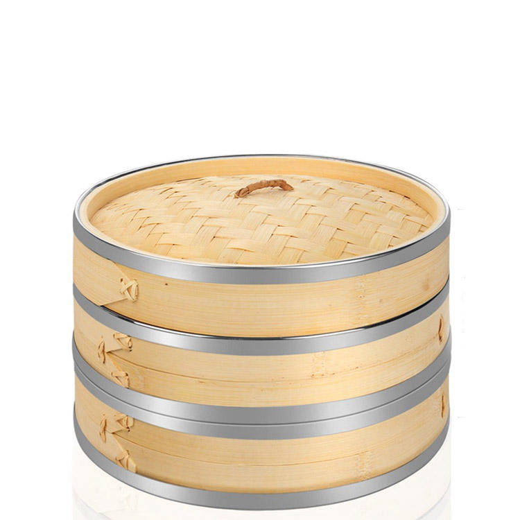 10 Inch 2 Tier Premium Bamboo Steamer with Stainless Steel Banding