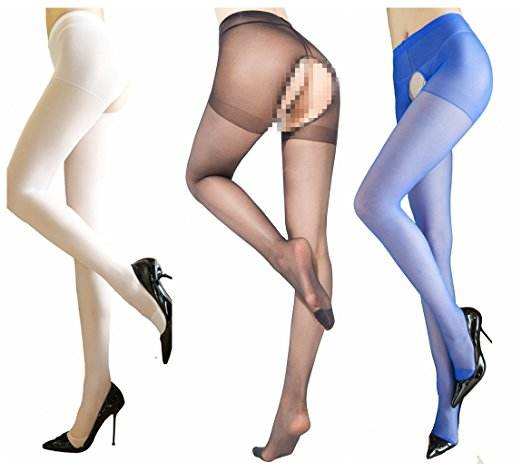 High Waist One Size Fits Most Open Crotch Shiny Silk Stockings for Girls Lady Women