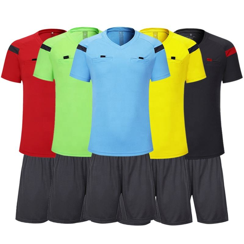 Wholesale referee shirt unisex football referee jersey set high quality soccer referee uniforms for sale