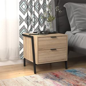 Wholesale nighttable bedside table industrial wizh two drawer