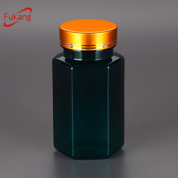 200cc Clear Hexagonal Shape PET Pill Bottle With Silver Metal Cap,Empty Hexagonal PET Plastic Medicine Bottle