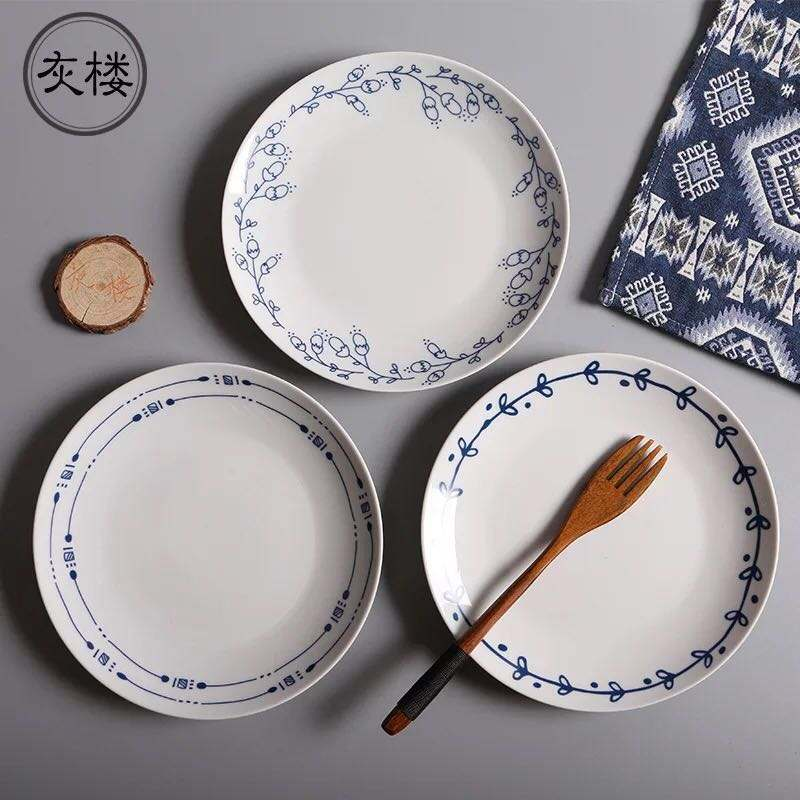 Custom printed white round ceramic plate for restaurant in china