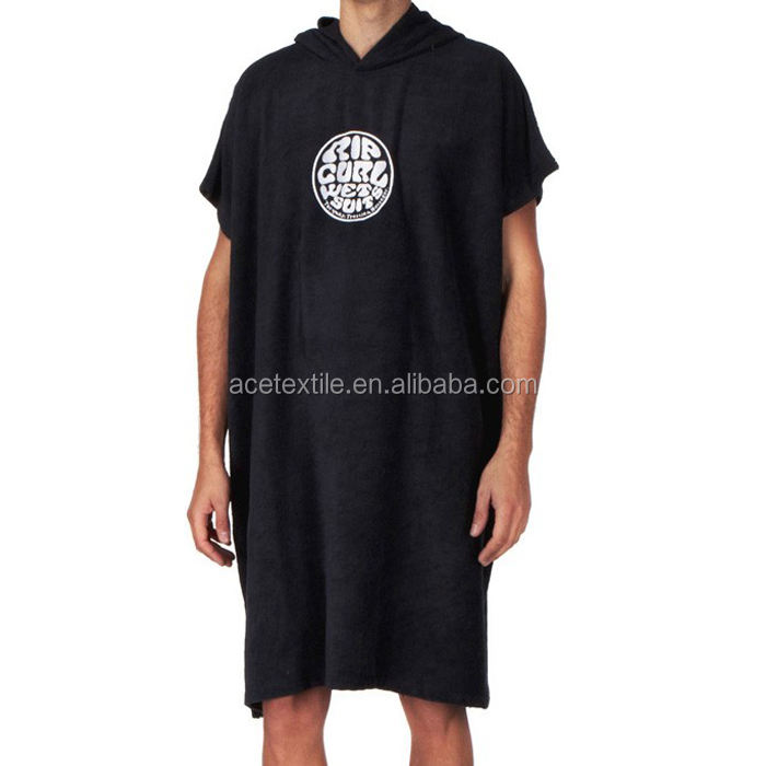 100% cotton terry super cool black color adult man towelling surf poncho man swim towelling poncho