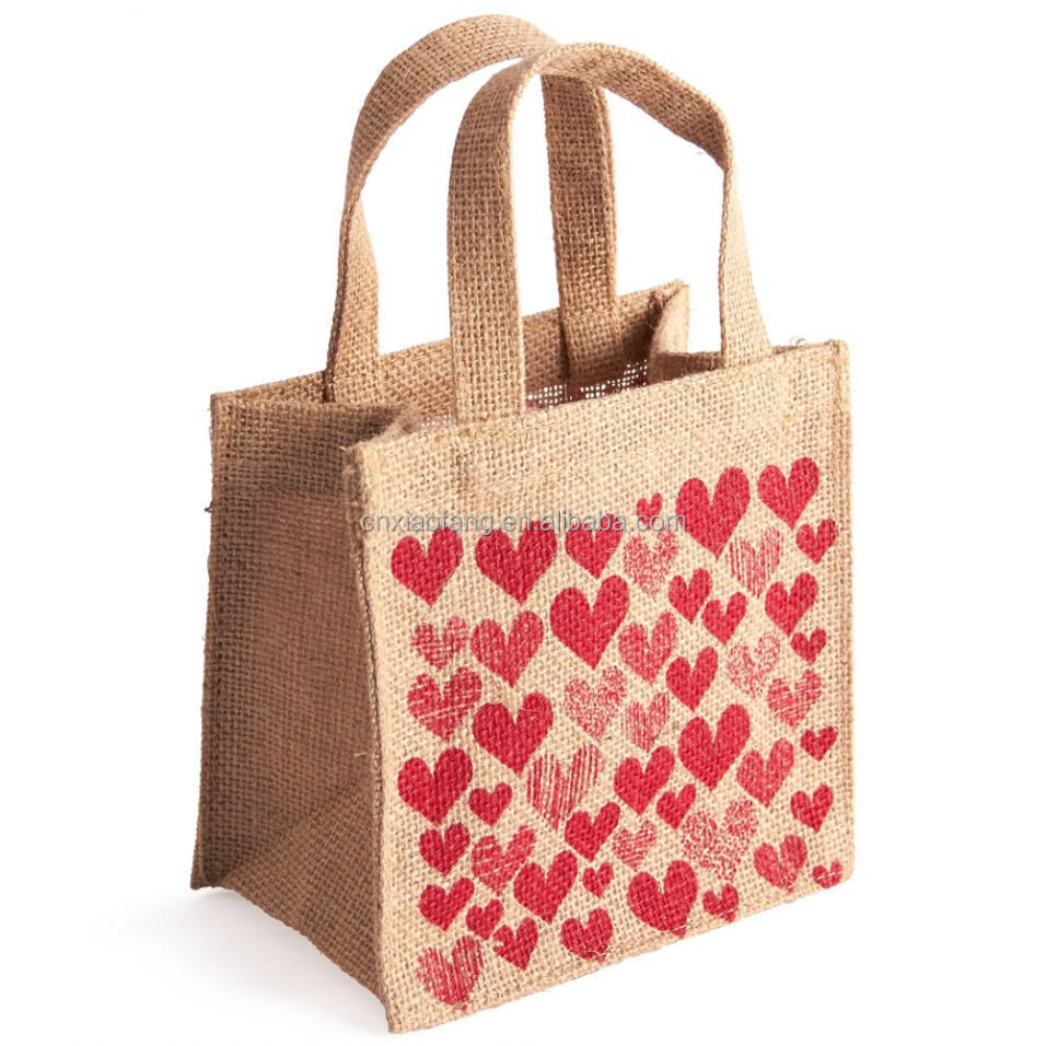 Custom Eco Reusable Promotional Carrying Bags Women Beach Hand Tote laminated Handle Jute Tote Bag