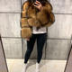 Women's full pelt winter thick short real raccoon fur coat ladies long sleeve natural fur jacket