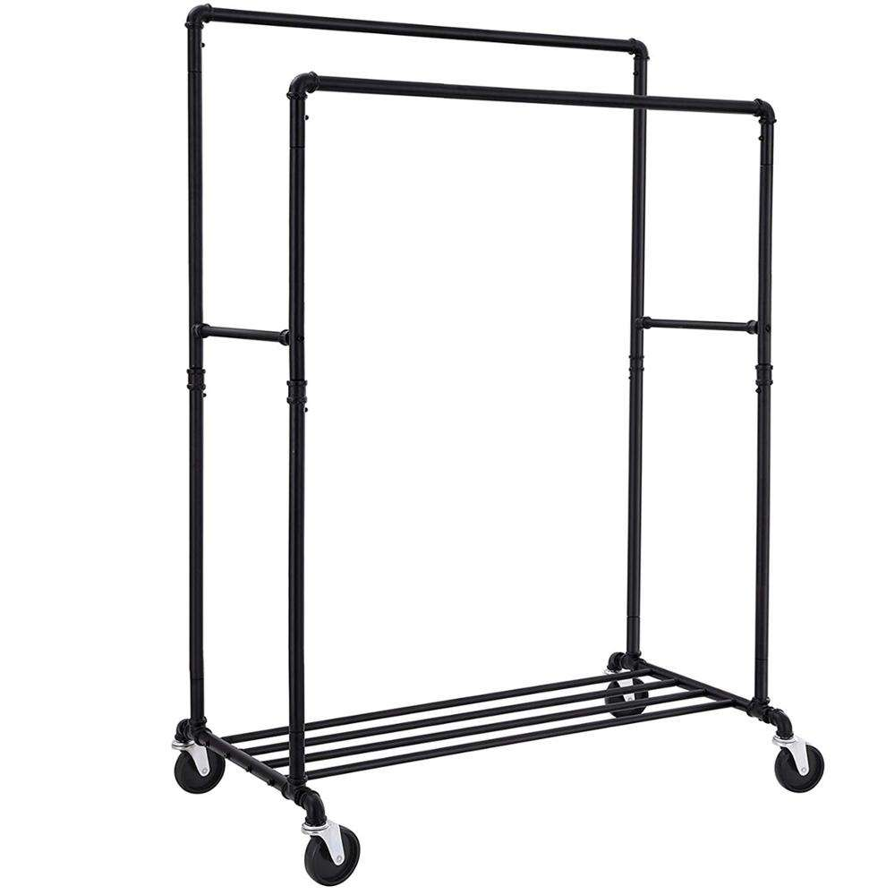 SONGMICS Industrial Pipe Clothes Rack on Wheels, Maximum load of 110 Kg, Double Hanging Rail, Heavy Duty Metal with Shelf