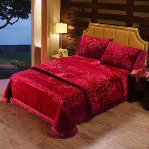 embossed solid Raschel 4pcs Blanket Sets